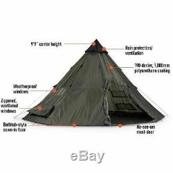 10 Person Man Teepee Tent Large Family Pyramid Camping Shelter Green 18 x 18 ft