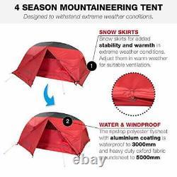 2 Man Tent, 4 Season Camping, Mountaineering, Red