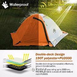 2 Man Tent, Backpacking Camping Tent 2 Person Waterproof, 2 Doors Double Layer