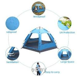 3-4 People Camping Tunnel Tent Beach Sun Shade Shelter Canopy Waterproof Shelter