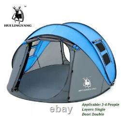 3/4Person Man Family Tent Blue Instant Pop Up Tent Breathable Outdoor Camping UK