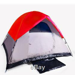 3-Man Camping Backpacking Tent 82.5 X 82.5 X 55 Seam Taped Fly with Bag RED