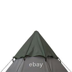 6 Man Tipi Tent Metal Poles Water-Resistant Walls Mesh Windows Zipped Door Green