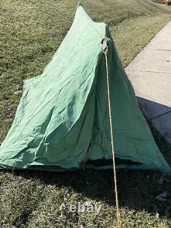 Antique Vtg Camping 2-Man Canvas PUP TENT Tie front, original wood poles NICE