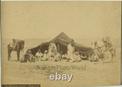 Arab camp men by tent with horses Couggourth Algeria antique albumen photo