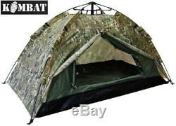 Automatic Army Military 2 Man Combat Tent Dome Camping BTP Camouflage Camo New