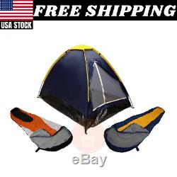 Blue Dome Camping Tent 2 Man + 2 Sleeping Bags 20+ Combo Camping Hiking Pack New
