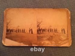 Civil War Stereoview Camp Scene Row of Tents with Men, Women, Soldier
