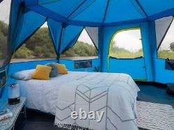Coleman Cortes Octagon 8 Man Tent in Blue and Lime Camping Outdoors Playroom