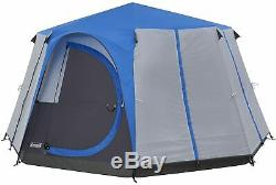 Coleman Octagon Cortes 6-8 Man Waterproof Tent for Camping/Festivals Blue