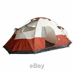 Coleman Tent 8 Man Red Canyon Camping Rainfly Hiking Outdoor Sundome 10 Stakes
