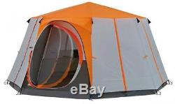 Coleman Cortes Octagon 8 Person Family Tent Orange Glamping
