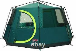 Coleman Tent Octagon 6-8 Man/Person Festival Dome Tent Family Camping 360 view