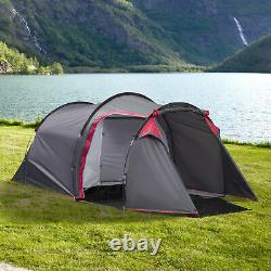 Four Man Camping Tent with 2 Rooms Porch Air Vents Rainfly Weather-Resistant