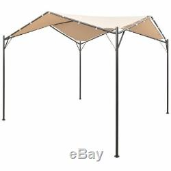 Gazebo Pavilion Tent Canopy 4x4m Steel Beige Umbrella Outdoor Gazebo Camping