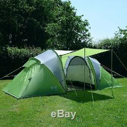 (Green) Trail 4 Man Family Tunnel Tent With Awning Camping Festival