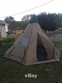 Guide Gear Camping Teepee Tent 14 X 14 Waterproof Coating 6 Man Person Used Once