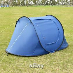 Instant Automatic Pop Up Camping Hiking 2 Man Tent Blue With Carry Bag Portable