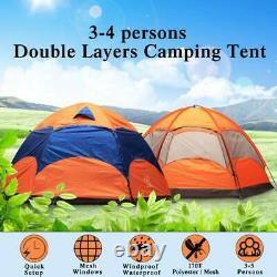 Large 3-5 Person Man Family Hydraulic Tent 2 Layer Camping Group Tent Canopy