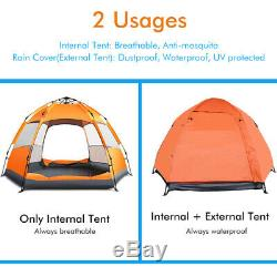 Large 5-7 Man Person Automatic Tent Festival Camping Fishing + Rain Cover