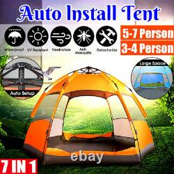 Large 5-7 Man Person Automatic Tent Festival Camping Fishing + Rain i