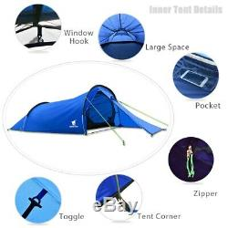 Light 2 Man Two Person Camping Tent Waterproof Tunnel Hoop Survival Shelter Bush