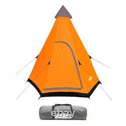 Milestone Unisex's Camping 18920 2 Man TeePee Tent Orange, Grey, One Size