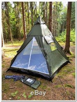 Military&Outdoor 3+1 Man Pyramid Tipi Tent Camping Hunting Waterproof Shelter