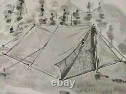 NOS Camping Nylon Two-Man Tent Bright Orange with Aluminum Poles & Manual