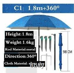 Outdoor Fishing Umbrella Fold Beach Camping 1.8-2m 360° Sun Protection Anti Uv
