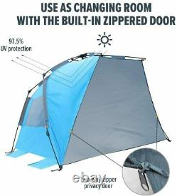 OutdoorMaster Pop-Up 3-4 Person Beach Tent X-Large Easy Setup Camp Shade Canopy