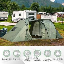 Outsunny 5 Man Camping Tent Family Friends Outdoor Shelter with Rainfly 3 Rooms Ca