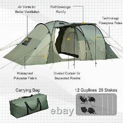 Outsunny 5 Man Camping Tent Family Friends Outdoor Shelter withRainfly 3 Rooms Bag