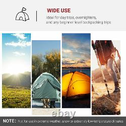 Outsunny Four Man Camping Tent with 2 Rooms Porch Vents Rainfly Weather-Resistant