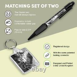 Pen & Keyring (Rectangle) BW Wild Camping Campfire Camp Tent Fire #43773