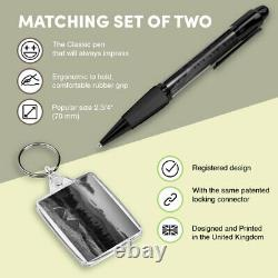 Pen & Keyring (Rectangle) BW Wilderness Camping Tent Wild Camp #37366