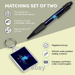 Pen & Keyring (Rectangle) Camping Forest Tent Camp Fire #24631