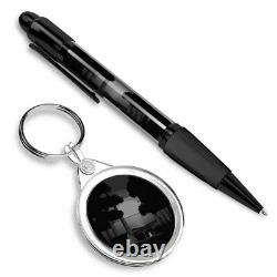 Pen & Keyring (Round) BW Camping Forest Tent Camp Fire #43966