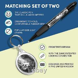 Pen & Keyring (Round) BW Wild Camping Campfire Camp Tent Fire #43773
