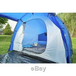 ProAction Polyester 6 Man 2 Room Waterproof Camping Tent Blue