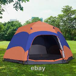 Six Man Hexagon Pop Up Tent Camping Festival Hiking Shelter Family Portable