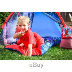 Spider-Man Kids 4-Piece Fun Camp Tent Set Play Sleeping Bag Flashlight Included