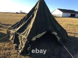 US Military Tent M-1950 5 MAN WITH LINER, ROPES AND CENTER POLE, REPAIRABLE