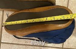 Vintage Eddie Bauer Goose Down Puffer Booties Camping Tent Slippers Blue M/L