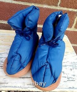 Vintage Eddie Bauer Goose Down Puffer Booties Camping Tent Slippers Blue Size M