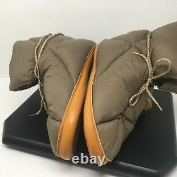 Vintage Eddie Bauer Goose Down Puffer Booties Camping Tent Slippers Brown Size M