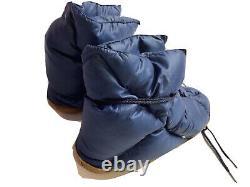 Vintage Eddie Bauer Goose Down Puffer Booties Medium Camping Tent Slippers Blue