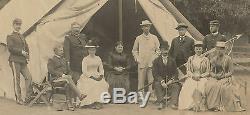 Vintage Photograph, American Civil War, Men & Woman at Tent/Camp, c. 1860's