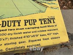 Vintage Rare Wenzel Heavy Duty Canvas Camping Pup Tent Original Box 2-man