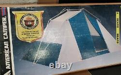 Vintage Sears Cabin Tent 4 Man 12' x 9' Green Potomac 4702 Camping Insect Mesh